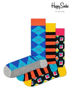 Happy Socks Blue Argyle Socks Three Pack