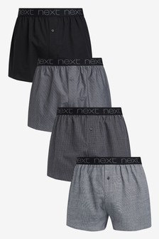 Pattern Pure Cotton Woven Boxers Four Pack