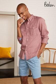 Boden Pink Linen Pocket Shirt
