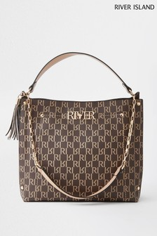 River Island Brown River Lock Slouch Bag