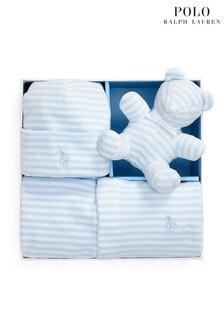 طقم هدية سالوبيت للبيبي أزرق بشعار من Ralph Lauren
