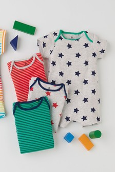 4 Pack Stripe Star Rompers (0mths-3yrs)