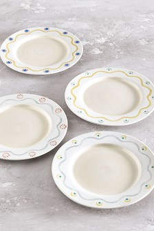 Callie Set of 4 Dinner Plates Hand Painted