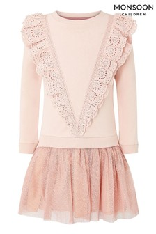 Monsoon Pink Frill Sweat 2-In-1 Dress