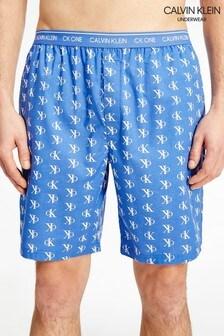 Calvin Klein藍色CK One編織睡褲