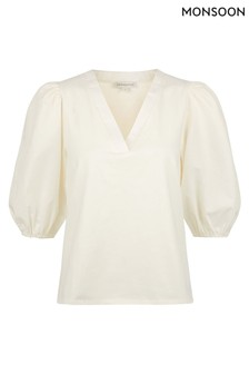 Monsoon Cream Pia Poplin Jersey Mix V-Neck Top