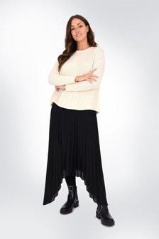 Live Unlimited Curve Black Pleated Hanky Hem Skirt