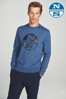 Niebieska melanżowa koszulka pod szyję z grafiką North Sails