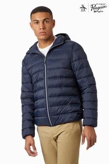 Original Penguin®藍色輕型連帽夾層外套