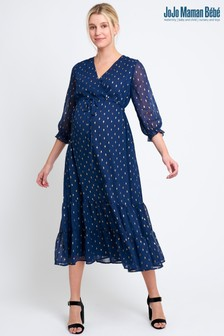 فستان أزرق داكن مزركش منJoJo Maman Bébé