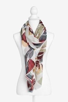 Floral Print Crinkle Lightweight Scarf