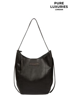 PureLuxuries London Black Hoxton Leather Shoulder Bag