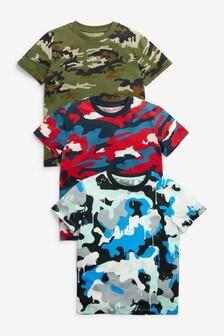 Zestaw 3 koszulek z nadrukiem kamuflażowym (3-16 lat)