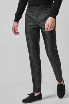 Leopard Print Tuxedo Suit: Trousers