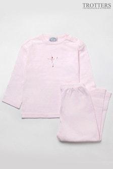 Trotters London Pink Margot Stripe Jersey Pyjamas