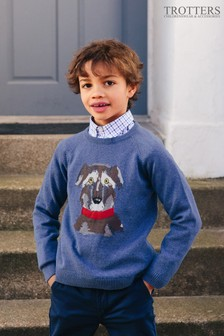 Trotters London Blue Ludo Wolfhound Jumper