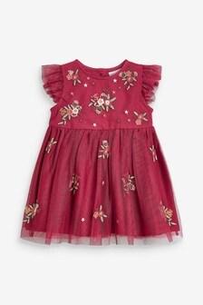 שמלה פרחונית רקומה לתינוקות בנות