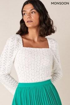 חולצת ג'רזי שלMonsoon דגם Skylee עם כיווצים ותחרה מחוררת