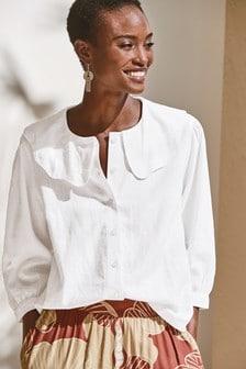 Блузка с воротником из вискозной ткани с имитацией льна