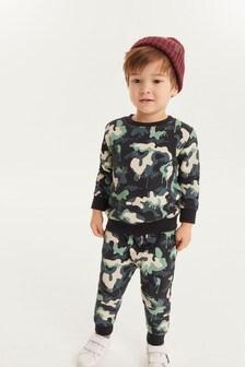 Трикотажный топ и спортивные брюки с принтом  (3 мес.-7 лет)