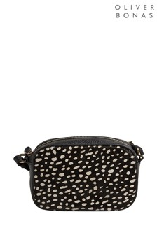 Oliver Bonas Black Joni Textured Spot Print Crossbody Bag