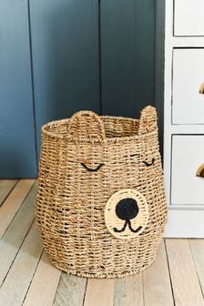 Cesta de almacenamiento con diseño tejido de oso