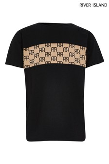 River Island Black Ob Monogram Block T-Shirt