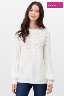 Joules Cream Jenna Knitted Pointelle Stitch Jumper