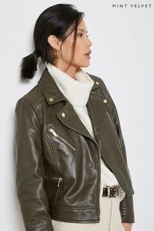 Mint Velvet Khaki Leather Biker Jacket