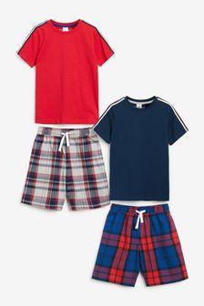 2 Pack Check Short Pyjamas (1.5-16yrs)