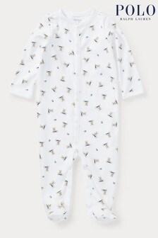 אוברול לתינוקות של Ralph Lauren בלבן עם הדפס דובים