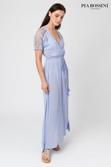 Pia Rossini Maxi Dress With Lace Shoulder Detail