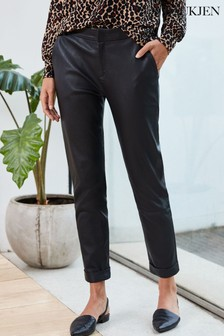 Baukjen Black Leather Raven Trousers