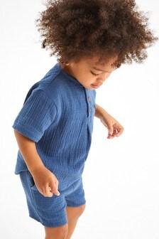 طقم قميص وشورت خامة ناعمة مزدوجة (3 شهور -7 سنوات)
