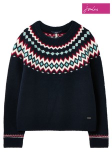Joules Blue Janelle Knitted Fairisle Pattern Jumper