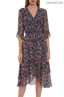 שמלת שיפון של Gina Bacconi דגם Lerina בהדפס פרחוני