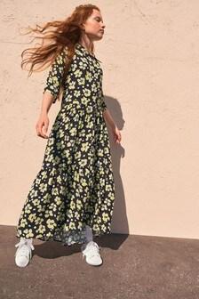 فستان قميص متوسط الطول (3-16 سنة)