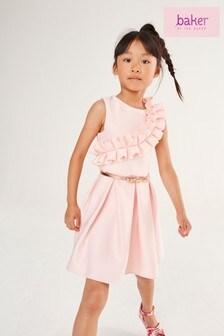 Baker by Ted Baker Girls Pink Ruffle Dress