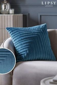 Lipsy Navy Pleated Velvet Cushion