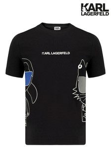 Karl Lagerfeld Black Cat Print T-Shirt