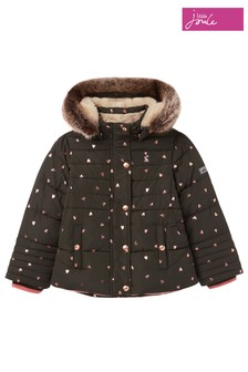 Joules Green Stella Fur Lined Padded Coat