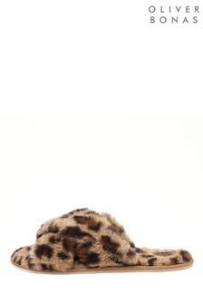Бежевые тапочки со звериным принтом и перекрестными ремешками Oliver Bonas