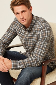 Brushed Flannel Check Long Sleeve Shirt (497598) | $48