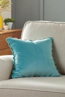 Teal Blue Scallop Edge Velvet Small Square Cushion