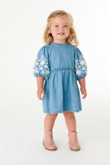 فستان مطرز دنيم (3 شهور -7 سنوات)