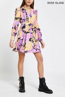 River Island Pink Bright Floral Wrap Tie Waist Mini Dress