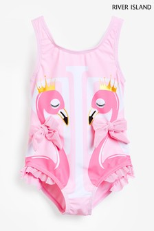 River Island Pink Light Flamingo Swimsuit