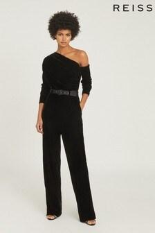 Reiss Black Elyse Velvet Jumpsuit