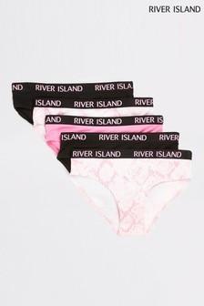 عبوة خمس قطع داخلية تحتية وردي مطبوع جلد الثعبان من River Island