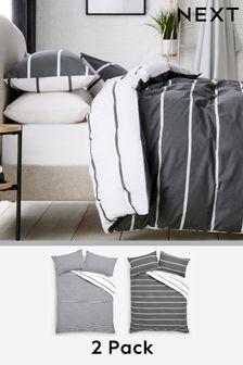2 Pack Reversible Mono Stripe Duvet Cover and Pillowcase Set